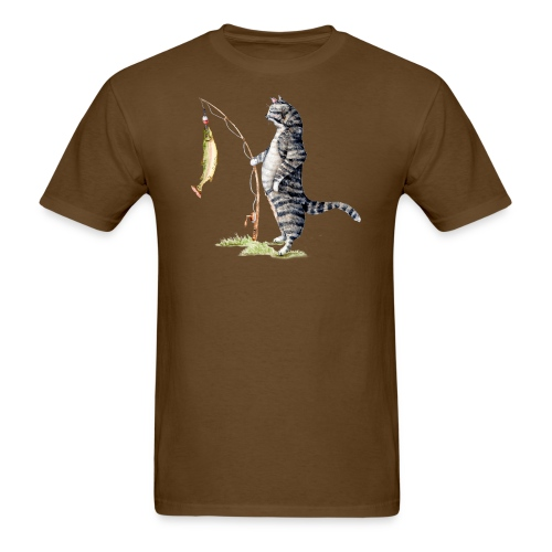 Cat with Fish by Goosi - Men's T-Shirt