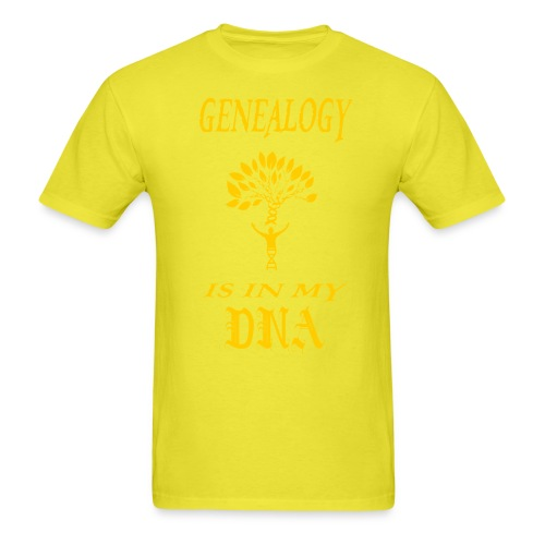 genealogy is in my dna funny birthday gift yellow - Men's T-Shirt