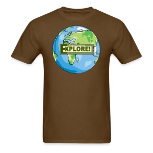 EXPLORE! Logo on the Earth - Men's T-Shirt