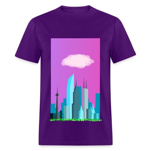 Cloudy evening city skyline - Men's T-Shirt