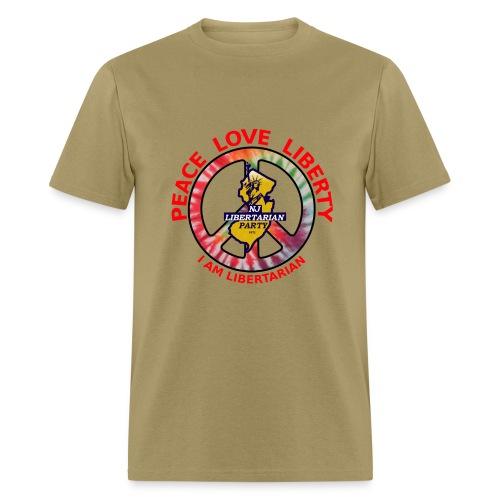 NJ Libertarian Peace, Love, Liberty - Men's T-Shirt