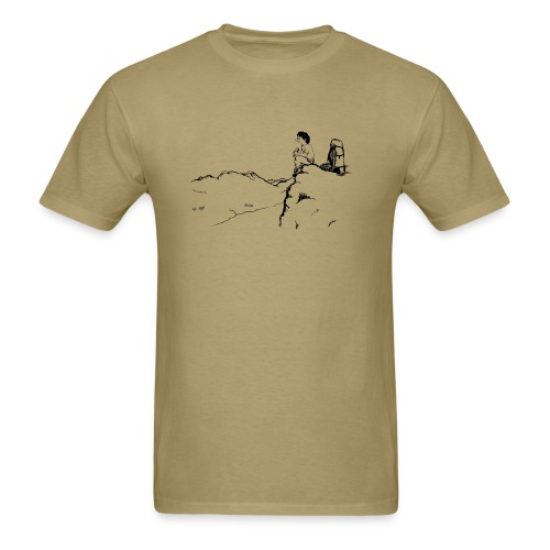 trekker eating his sandwich on the top o - Men's T-Shirt