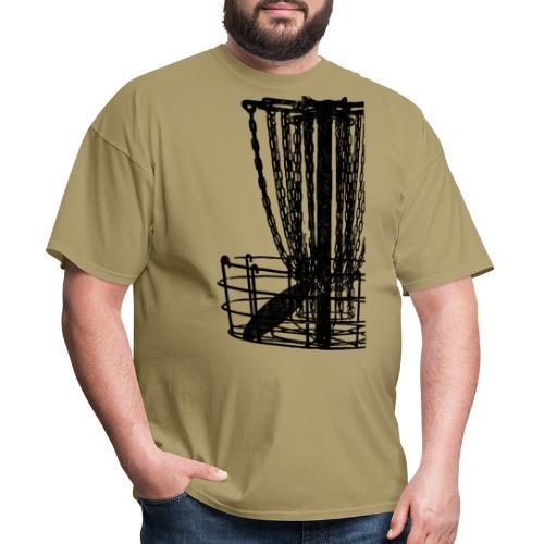 Distressed Disc Golf Basket Shirt Black Print - Men's T-Shirt