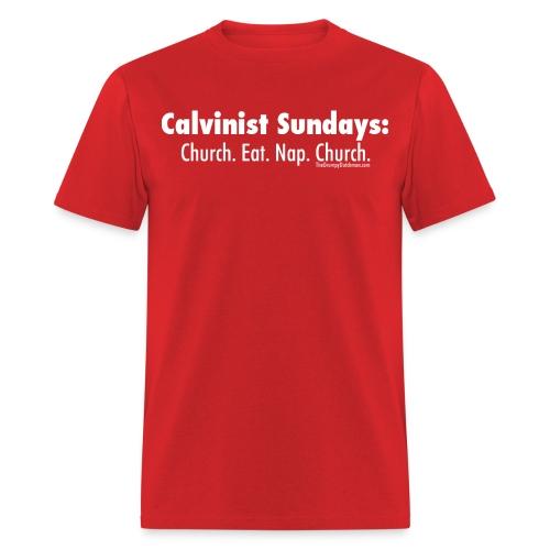 33 Calvinist Sundays white lettering - Men's T-Shirt