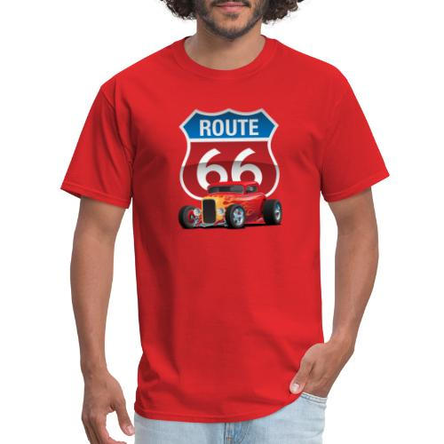 Route 66 Sign with Classic American Red Hotrod - Men's T-Shirt