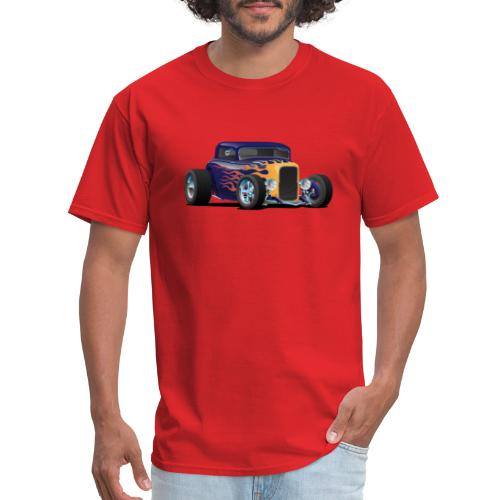 Vintage Hot Rod Car with Classic Flames - Men's T-Shirt