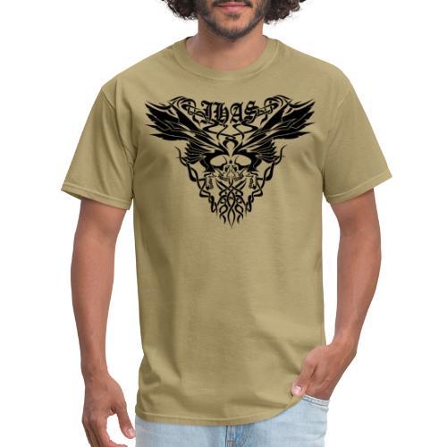 Vintage JHAS Tribal Skull Wings Illustration - Men's T-Shirt