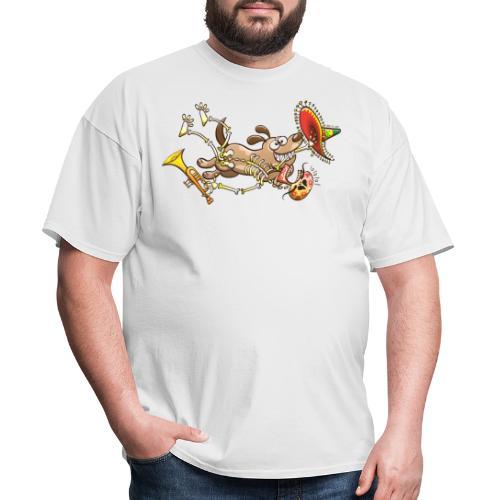Mischievous Dog Stealing Mexican Skeleton - Men's T-Shirt
