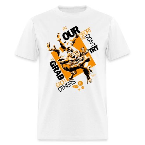 Judo Shirt BJJ Shirt Grab Design for white shirts - Men's T-Shirt
