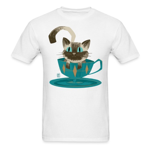 Cat in a Teacup by Kim B - Men's T-Shirt