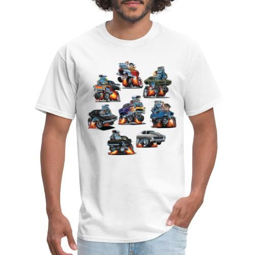 Car Crazy Classic Hot Rod Muscle Car Cartoons - Men's T-Shirt