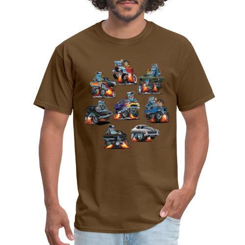 Car Crazy Classic Hot Rod Muscle Car Cartoons - Men's T-Shirt
