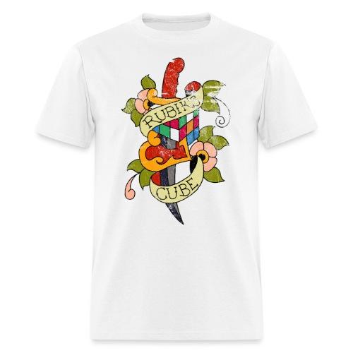Rubik's Cube Colorful Tattoo Distressed - Men's T-Shirt