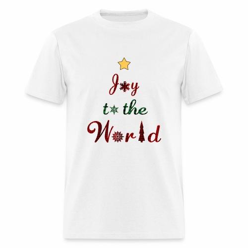Joy to the world Christmas Tree Star Holiday Plaid - Men's T-Shirt