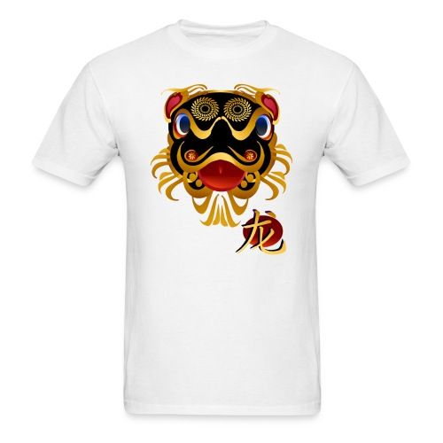 Black n Gold Chinese Dragon 's Face and Symbol - Men's T-Shirt