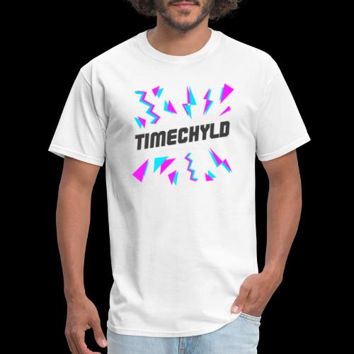 Timechyld Logo with Retro Pattern (Black) - Men's T-Shirt