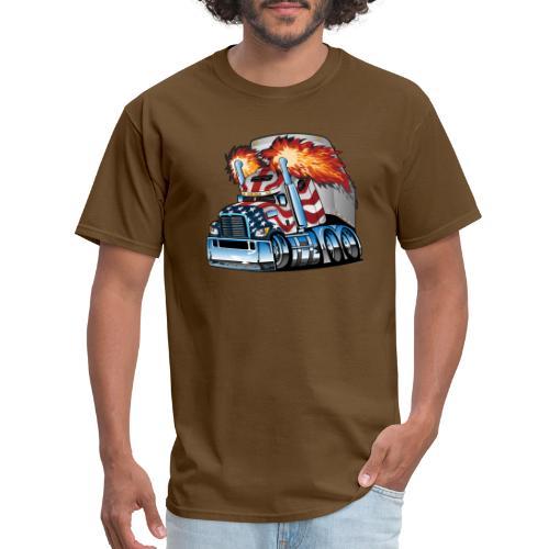 Patriotic American Flag Semi Truck Tractor Trailer - Men's T-Shirt