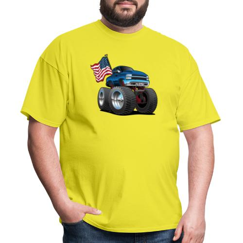 Monster Pickup Truck with USA Flag Cartoon - Men's T-Shirt