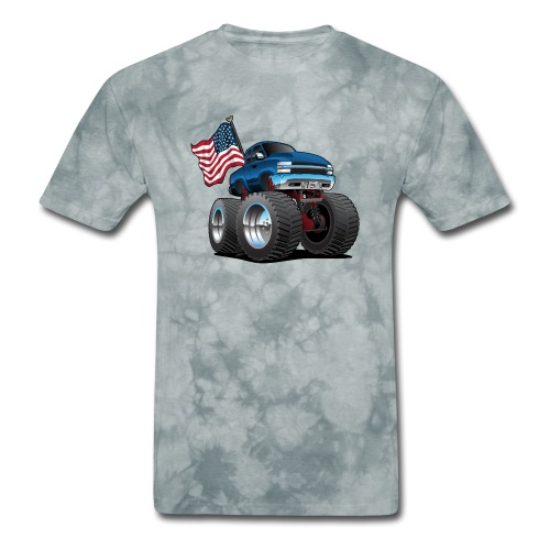 Monster Pickup Truck with USA Flag Cartoon - Men's T-Shirt