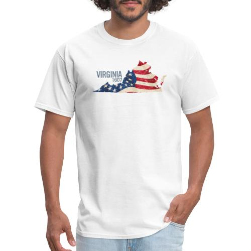 Virginia 1607 with USA Stars and Stripes - Men's T-Shirt