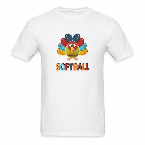 Softball Turkey Thankful Thanksgiving Tee - Men's T-Shirt