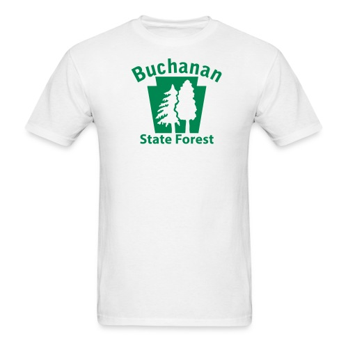 Buchanan State Forest Keystone (w/trees) - Men's T-Shirt