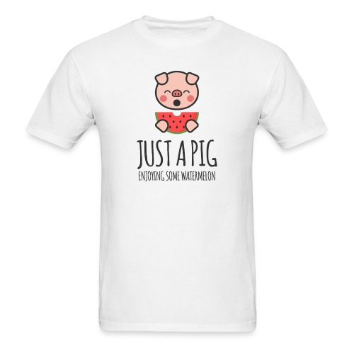 Just A Pig Enjoying Some Watermelon - Men's T-Shirt