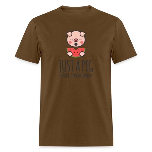 Just A Pig Enjoying Some Watermelon - Men's T-Shirt
