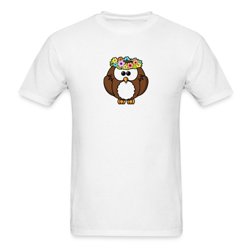 Owl With Flowers On Head T-Shirt - Men's T-Shirt