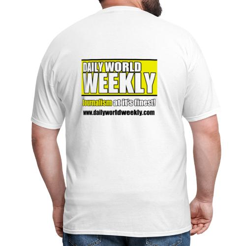 daily world weekly banner tagline web addy - Men's T-Shirt