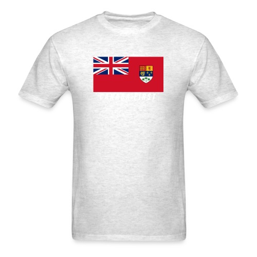 Canada First Ensign Flag on front, Plaid Army - Men's T-Shirt