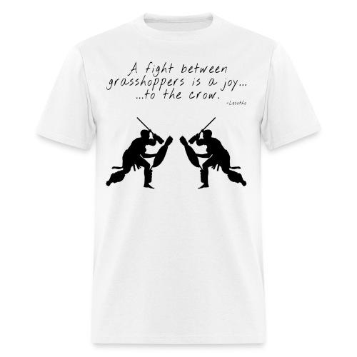 AFRICAN PROVERB TEE: A Fight Between Grasshoppers - Men's T-Shirt