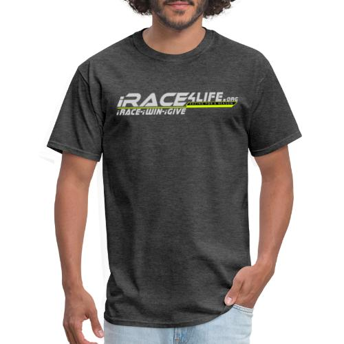 iRace4Life.org Gray Logo w/ iRace-iWin-iGive! - Men's T-Shirt