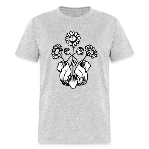 Vintage Sunflower Motif - Black Ink, White Fill - Men's T-Shirt