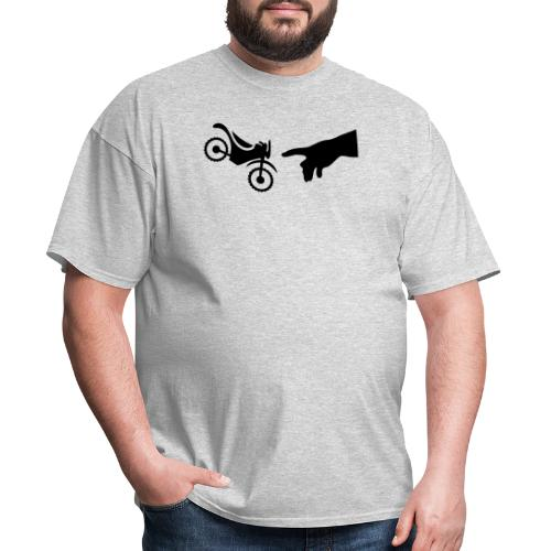 The hand of god brakes a motorcycle as an allegory - Men's T-Shirt