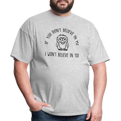 Believe Bigfoot Sasquatch Cute Chibi Black Print - Men's T-Shirt
