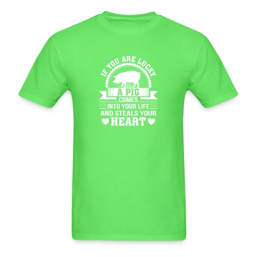 Mini Pig Comes Your Life Steals Heart - Men's T-Shirt