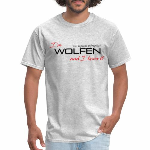 Front/Back: Wolfen Attitude on Light- Adapt or Die - Men's T-Shirt