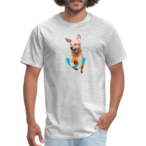 Dog jumping over U and Marin Humane Logo - Men's T-Shirt