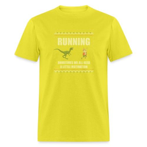 Ugly Christmas Sweater Running Dino and Santa - Men's T-Shirt