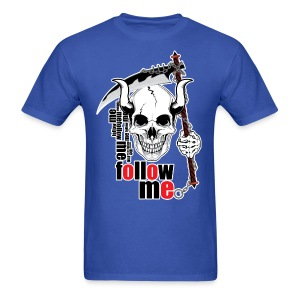 Follow me - Funny Skull with Scythe and Chain - Men's T-Shirt