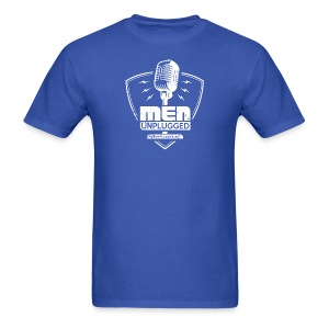 Men Unplugged faded shield with bolts logo 2 - Men's T-Shirt