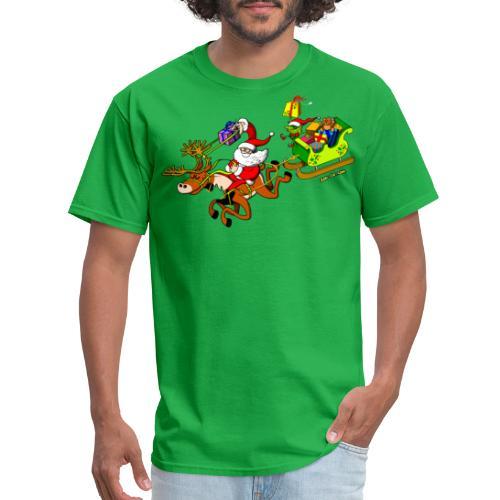 Santa's Gift Delivery with a Slingshot - Men's T-Shirt