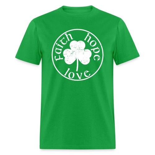 Irish Shamrock Faith Hope Love - Men's T-Shirt
