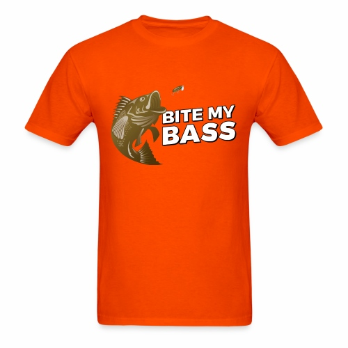 Bass Chasing a Lure with saying Bite My Bass - Men's T-Shirt