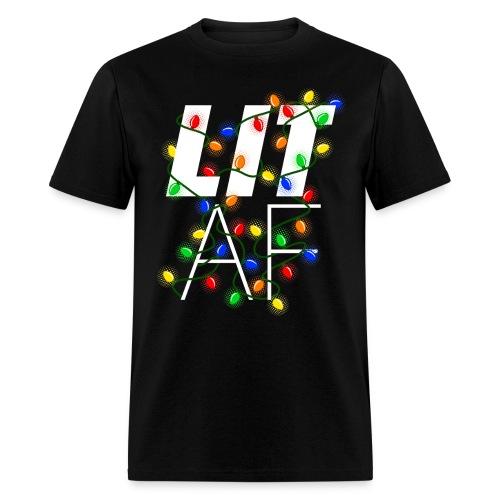 LIT AF Funny Christmas Lights Drunk Christmas - Men's T-Shirt