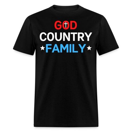 GOD COUNTRY FAMILY, Christian Cross American Stars - Men's T-Shirt