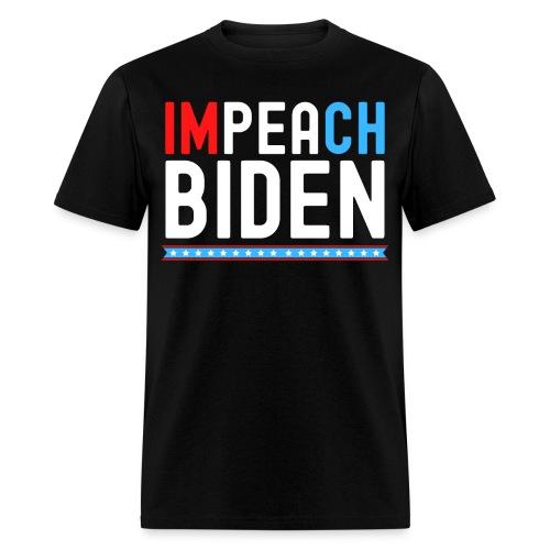 IMPEACH BIDEN, Red White & Blue - Men's T-Shirt
