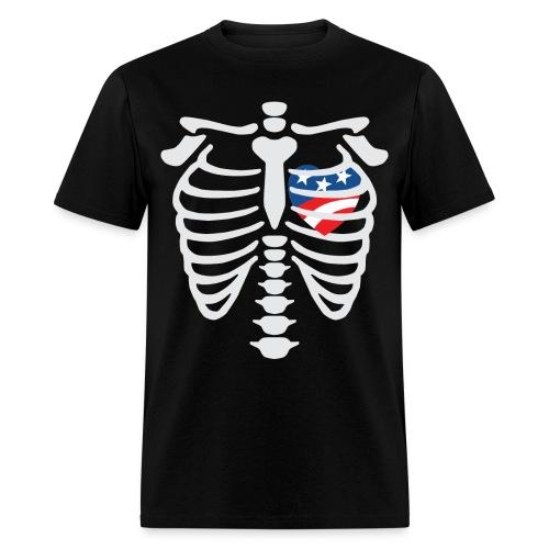 Skeleton with Red White Blue Heart - Men's T-Shirt