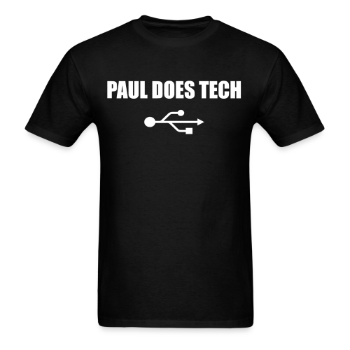Paul Does Tech White Logo With USB - Men's T-Shirt